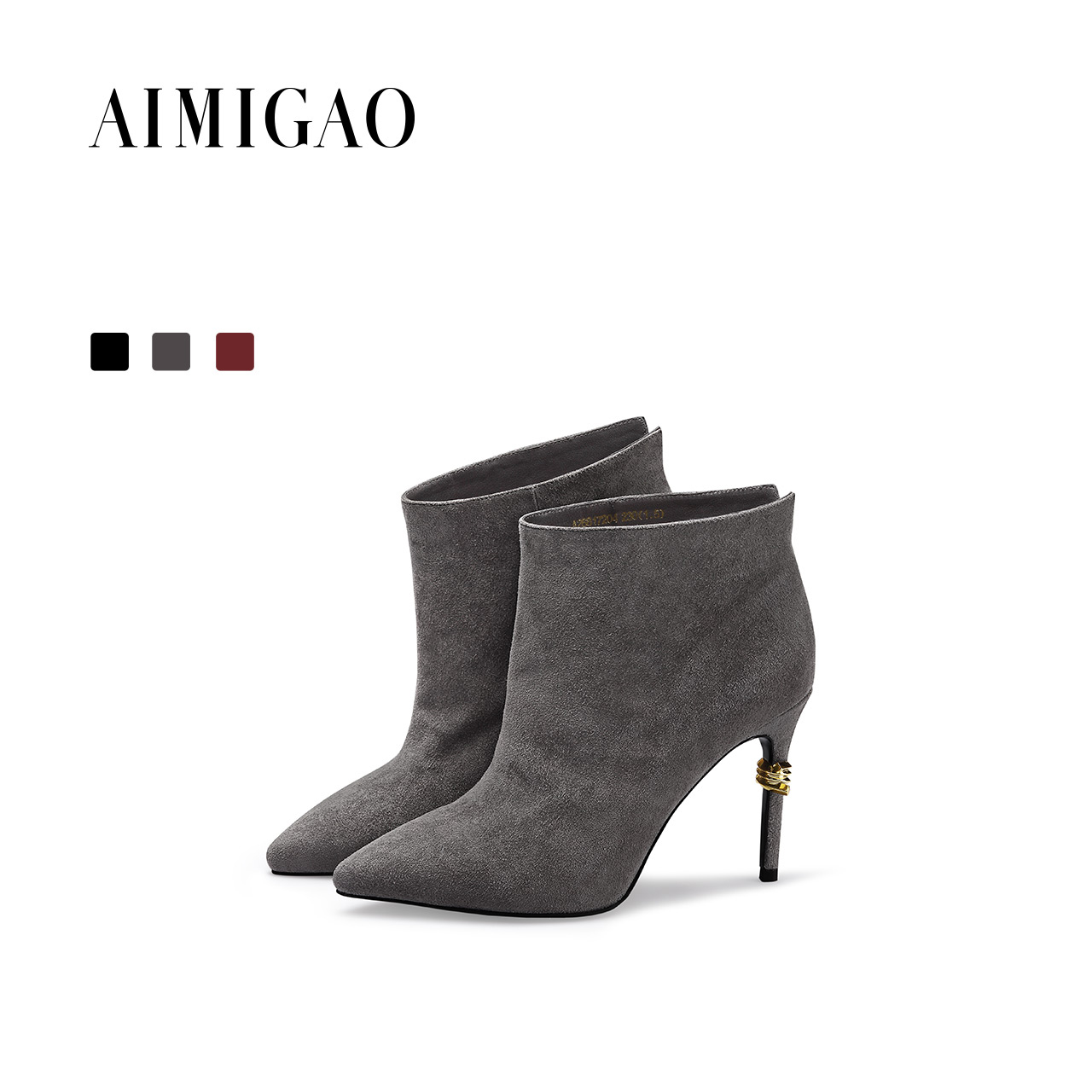 AIMIGAO suede leather women high-heeled boots pointed toe sexy thin high heel fashion ankle boots 2018 autumn winter new women faux suede side zipper sexy thin high heel thigh boots fashion pointed toe winter shoes black g