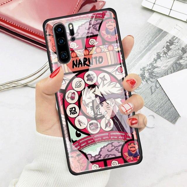 Etui ze szkła hartowanego dla Huawei P10 P20 P30 Pro Mate 10 20 Lite Honor 8X20 Pro okładka anime naruto Uchiha Itachi luksusowe etui