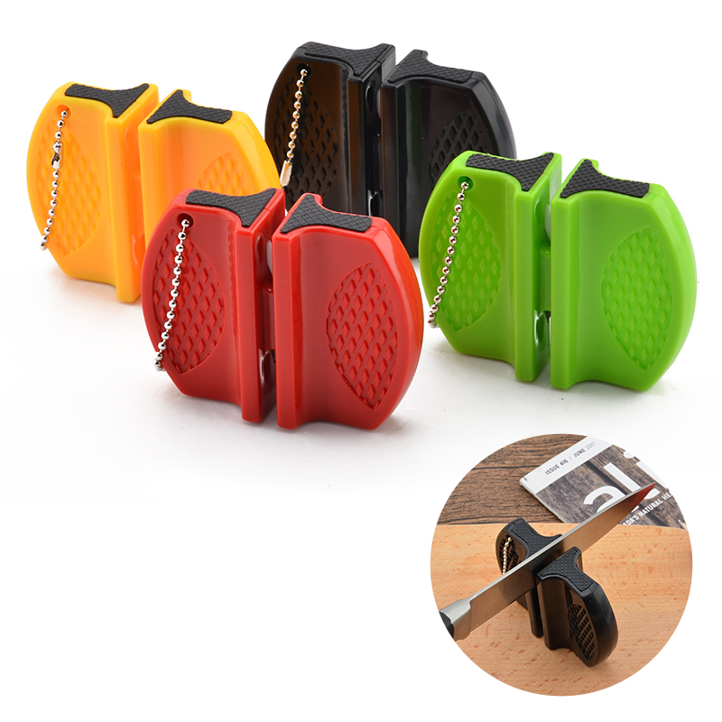 Portable Mini kitchen Knife Sharpener Kitchen Tools Accessories Creative Butterfly Type Two-stage Camping Pocket Knife Sharpener(China)