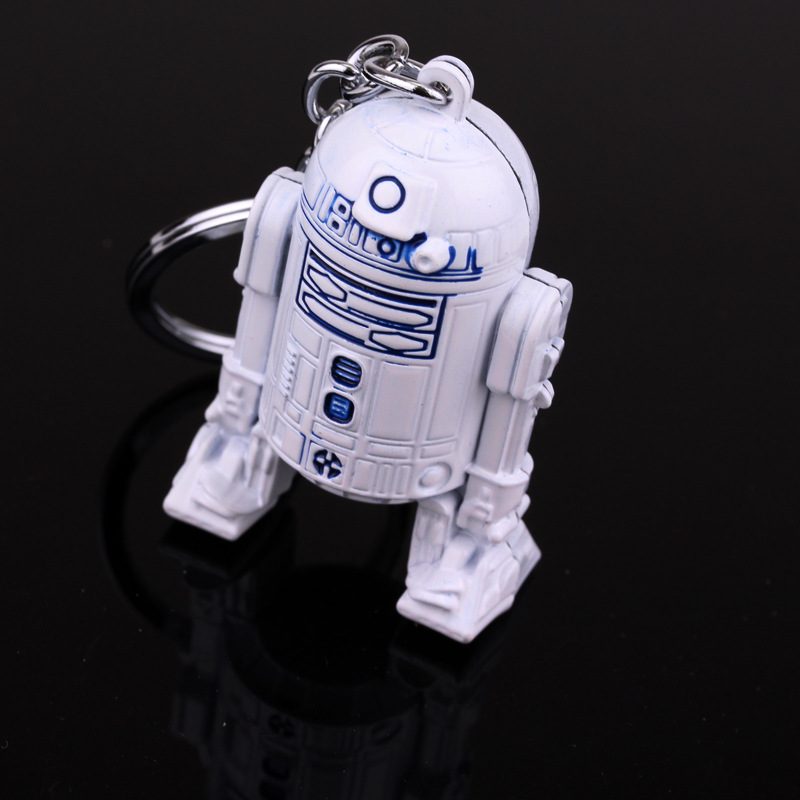 10pcs/lot Movie Character Robot R2D2 action figure keychain 3D White 5.5cm Metal Key Ring for kids Gift Wholesale