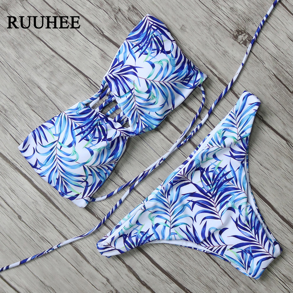 New Arrival Bikini 2017 Women Brazilian Bikini Set Printed Summer Halter Bandage Swimsuit Adjustable Beach Bathing Suit steampunk skeleton mechanical pocket watch men vintage bronze clock necklace pocket