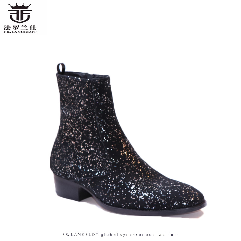 FR.LANCELOT 2018 New sequin leather men booties zip up Chelsea Boots black bling Ankle Boots Men's glitter party shoes vintage sequin embroidered zip up jacket page 2