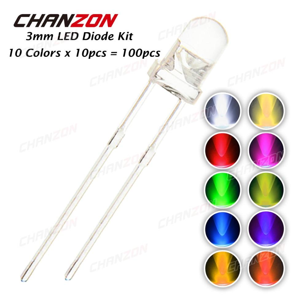100 pçs 3mm diodo led kit 3mm 3 v diy conjunto de luz emitindo branco quente verde vermelho azul amarelo laranja roxo uv rosa ultra brilhante 20ma