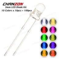 100 pcs 3mm dioda LED zestaw 3mm 3 V DIY zestaw emitująca światło ciepły biały zielony czerwony niebieski żółty pomarańczowy fioletowy UV różowy Ultra jasne 20mA