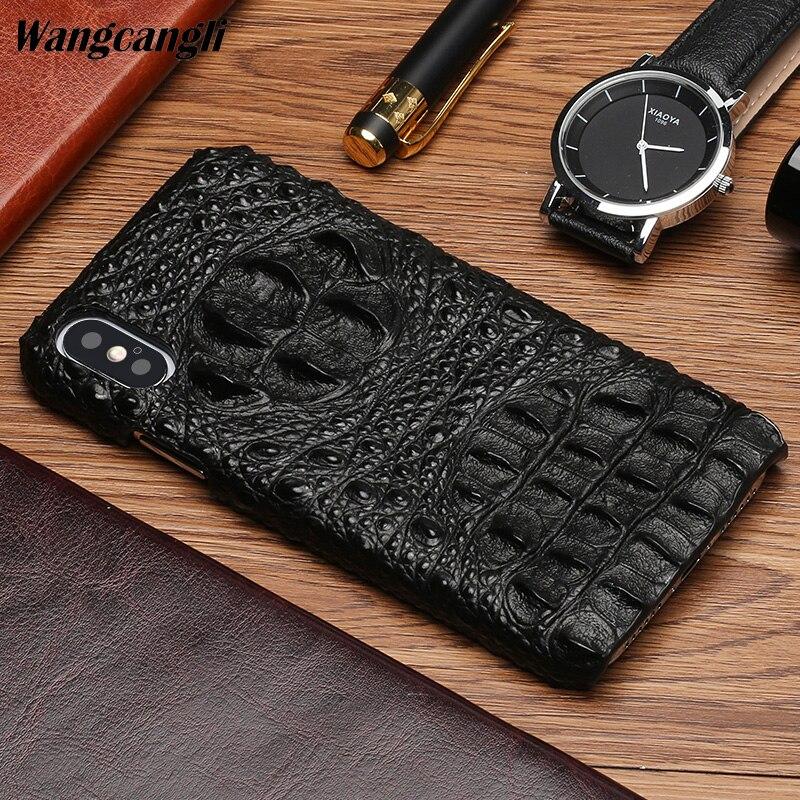 Marque Vachette téléphone étui pour iphone X crocodile motif demi-paquet mobile coque de téléphone couverture arrière de téléphone Portable