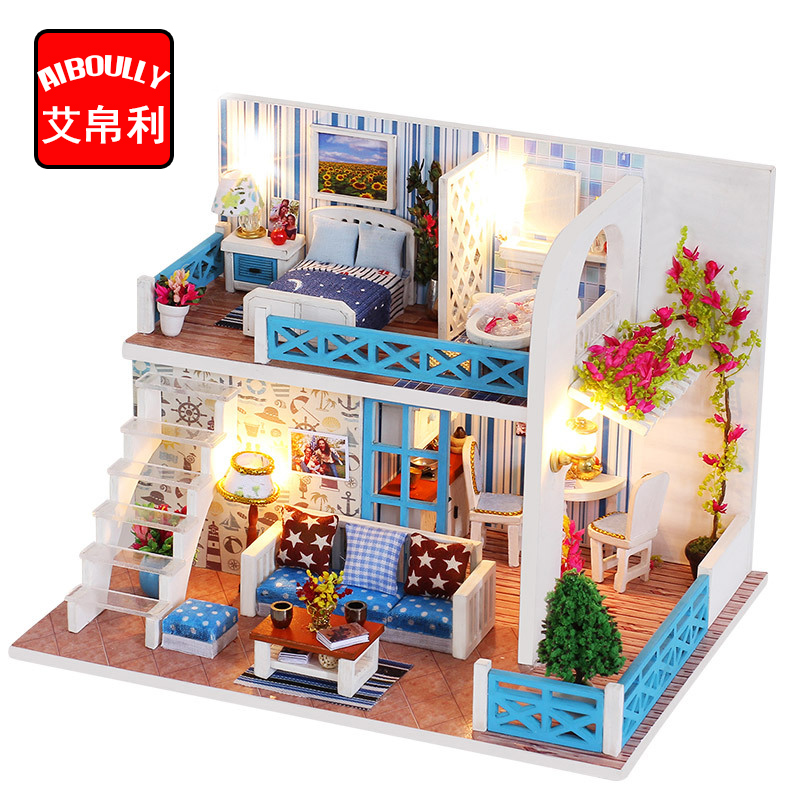 Us 2259 Seaside House Diy Wood Dollhouse Kit Miniature With Furniture Doll House Room Angel Dream Best Birthday Gift For Girls In Doll Houses From