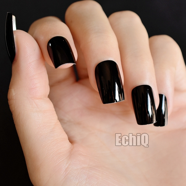 Aliexpress buy cool black metallic nail art tips squoval cool black metallic nail art tips squoval shape long mirror acrylic nails shiny surface full wrap prinsesfo Choice Image