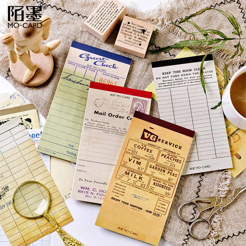 Multifunctional Form Series Retro Old Paper Memo Pad Writing Pad Stationery Sticky Note Message Note Paper Notepad Diary Planner(China)