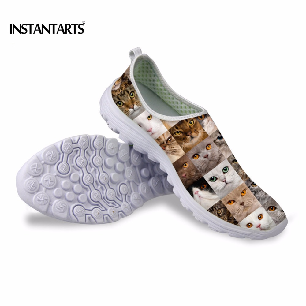 INSTANTARTS Cute Cat Puzzle Casual Air Mesh Flat Shoes Women Teen Girl Summer Breathable Slip On Walking Sneakers Adult Zapato instantarts cute glasses cat kitty print women flats shoes fashion comfortable mesh shoes casual spring sneakers for teens girls