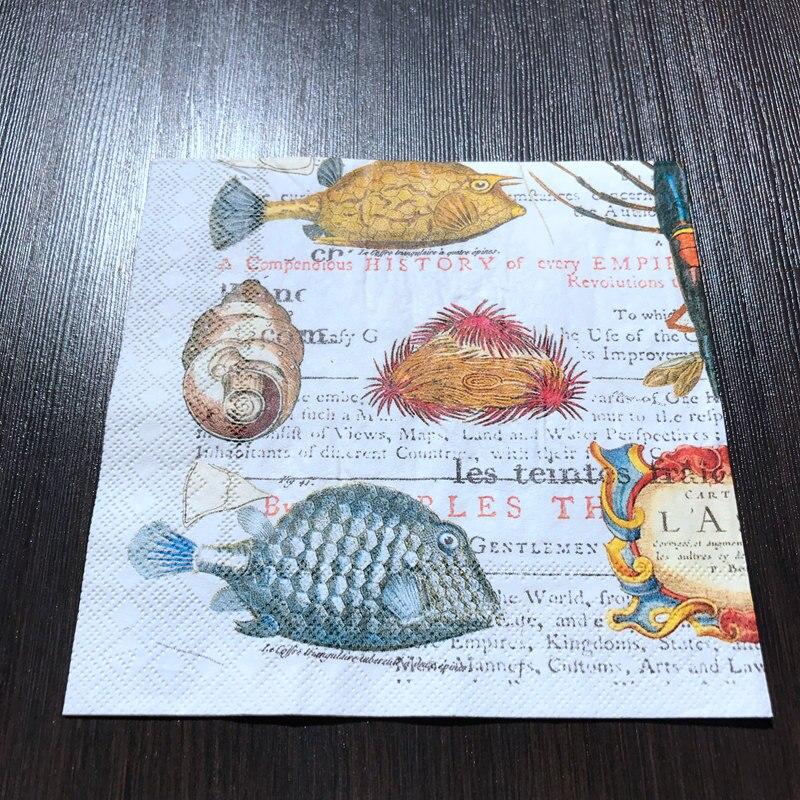 pesce conchiglia 33 x 33 cm cavalluccio marino mare 20 tovaglioli subacquei stella marina