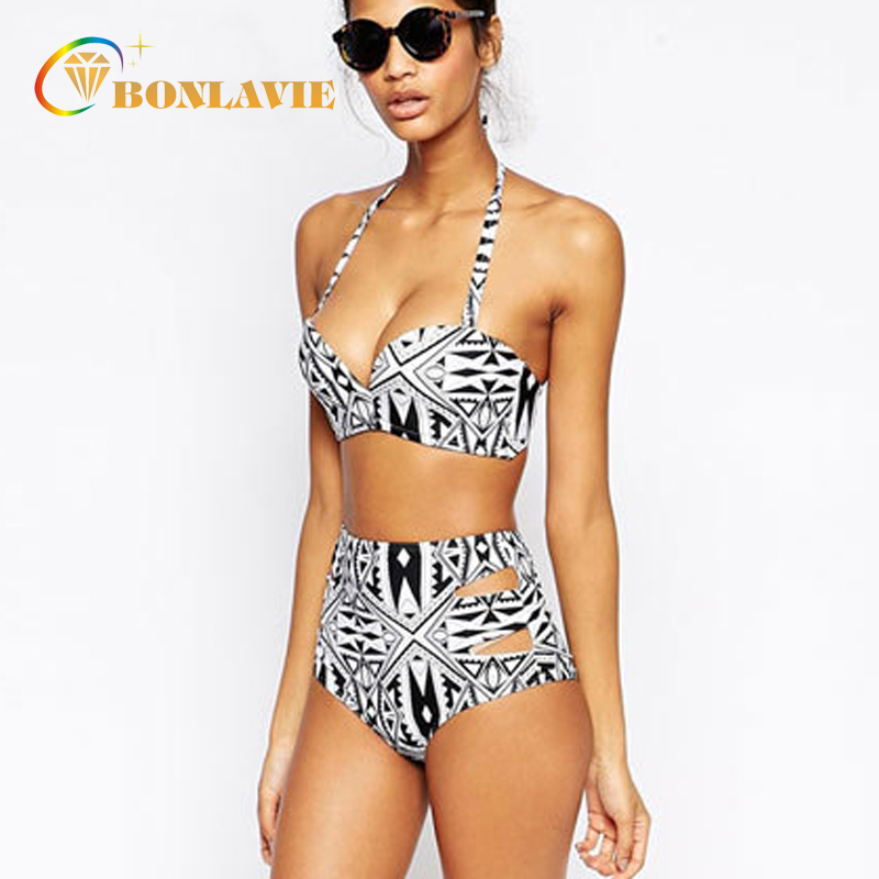 High Waist Swimsuit Halter Bandage Biquines Retro Vintage Bikini Set 2017 Plus Size Swimwear Women Beach Bathing Suit lena gaga swimsuit cover up set bikini 2017 xxxl xl vintage bikini retro fat breast big bust bow bikini plus size swimwear women