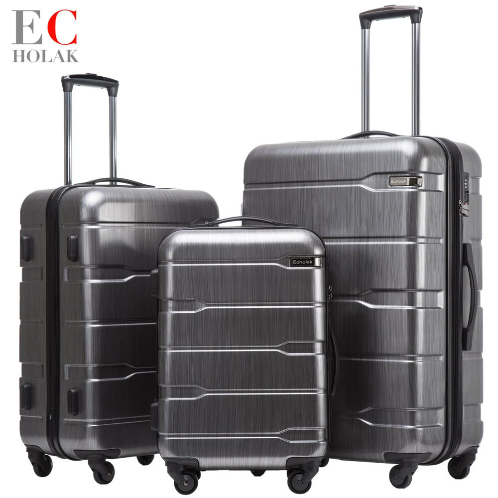 3 Piece Set 100 PC Suitcase Carry on Spinner Wheels Travel Luggage TSA lock 20 24
