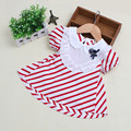 2016 Summer toddler Girl  Dress stripe Princess Newborn Dresses Baby Girl Clothes puff sleeve chevron baby dress for party cloth