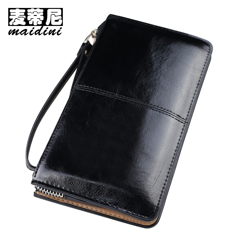 Oil Wax Leather Zipper Clutch Wallet Famous Brand Female Wallets Candy Burglar Robbed Purse Lady Multi-function Women Phone Bag цена и фото
