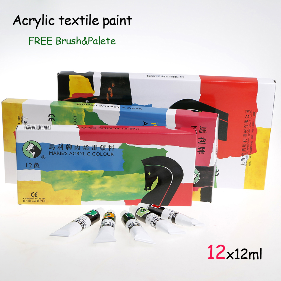 12 Colors 12ML Set Acrylic <font><b>Paint</b></font> Waterproof Hand Painted Wall Paper Nail Drawing For Kids Children Learning <font><b>Paints</b></font> Supplies