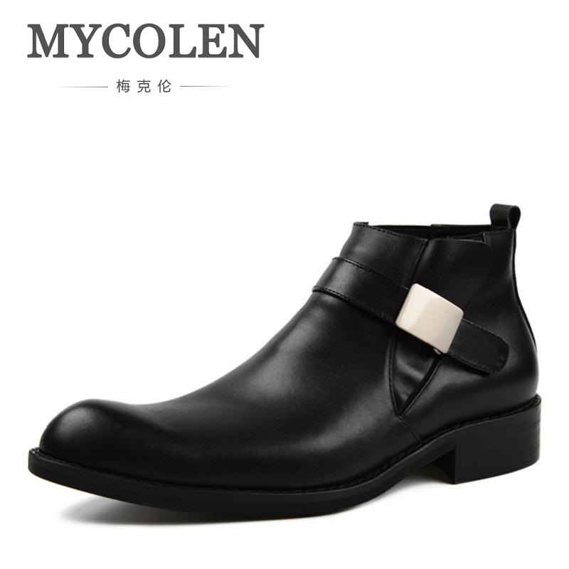 MYCOLEN New 2018 Autumn Winter Shoes Men Genuine Leather Chelsea Boots Pointed toe Men's Boots Male Buckle Strap Brand Shoes mycolen spring autumn men genuine leather chelsea boots vintage pointed toe ankle outdoor boots wear resistant male shoes