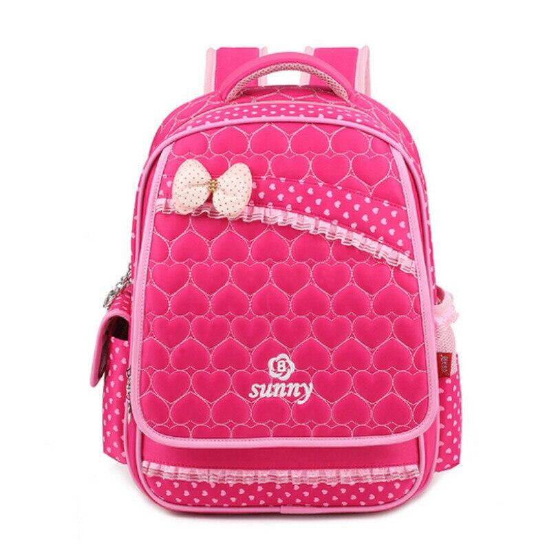 pink bow school bags for girls polka dot kids bag women backpack ...