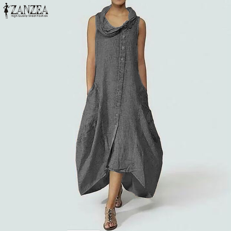 2018 ZANZEA Vintage Long Dress Oversized Women Causal Sleeveless Sarafans Vestido Robe Female Asymmetrical Hem Maxi Sundress