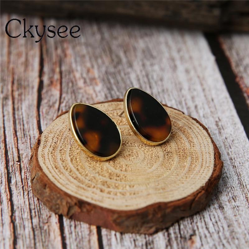 Ckysee 1pair/set Punk Trendy Acrylic Stud Earrings Water Drop Fashion Jewelry Leopard Earrings Vintage Women Gift Jewellery 2019