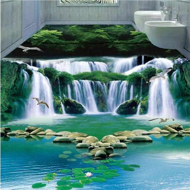 Beibehang Beige Stein Decke Europäischen Boden Malerei Benutzerdefinierte  Wasserdichte Tapete Für Badezimmer 3D PVC Tragen Rutschfeste