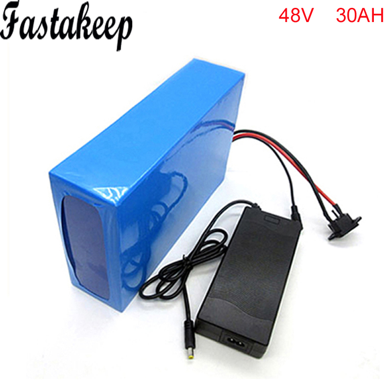 Batterie de vélo électrique 48 V Ebike batterie 48 v 30Ah 1000 W avec chargeur 2A, batterie au Lithium BMS batterie 48 V pour moteur 48 v bafang