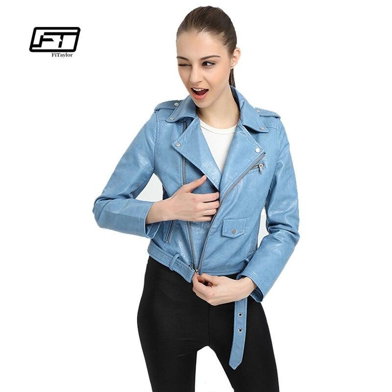 Fitaylor Spring Faux   Leather   Jacket Women Soft PU Basic Outwear Bomber Motorcycle Biker Coat Slim Punk Black Jackets With Belt