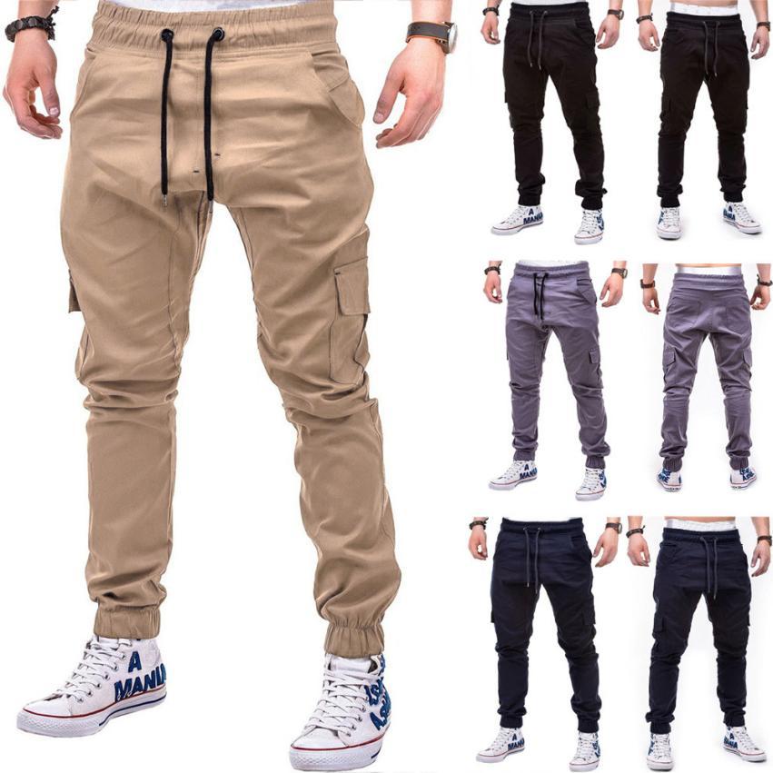 Men s Pants 2018 Fashion Men s Pure Color Bandage Casual Loose Sweatpants Drawstring Pant Innrech Market.com