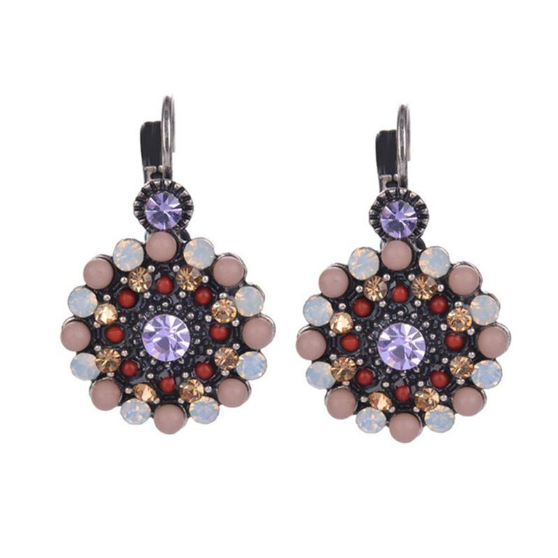 2016 Newest Vintage Romantic Purple Rhinestone Resin Beads Crystal Stud font b Earrings b font For