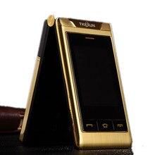 Новинка 2017 года оригинальный tkexun G10 Для женщин флип телефон двойной Экран Dual SIM Камера MP3 MP4 3.0 дюймов Сенсорный экран Роскошный сотовый телефон
