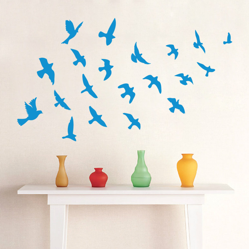 removeable pvc diy blue sea gull wall sticker home decor decal mural kids bedroom interior decor blue kids furniture wall