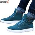 1 Pair Nova Marca Sapatos masculinos Outono Inverno Tornozelo Calcanhar Plana botas Botas de Neve do Sexo Masculino Estilo Britânico Casuais Sapatas de Lona Dos Homens PA871485