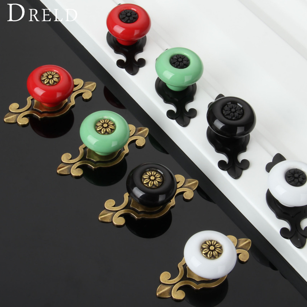 1Pc Vintage Furniture Handles Furniture Fitting Ceramic Cabinet Knobs and Handles Door Knob Cupboard Drawer Kitchen Pull Handles antique european furniture handles cabinet handle door drawer circular copper