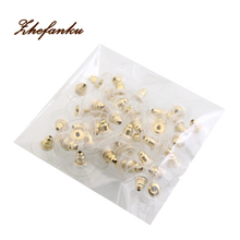 100pcs/pack Alloy rubber Earring Backs Bullet Stoppers Earnuts Ear Plugs Findings Jewelry Accessories
