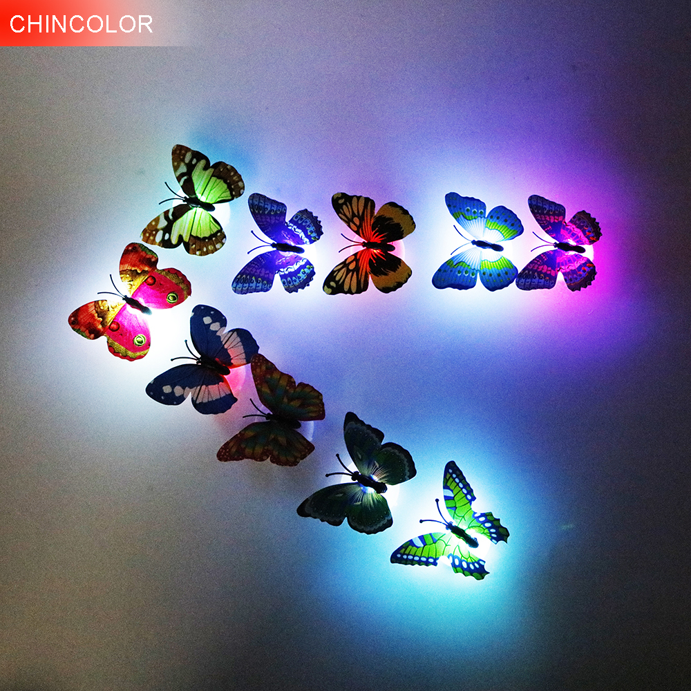 CHINCOLOR 4PCS/lot Butterfly night light Wall Stickers with retail box for home decoration living room  color at random BA