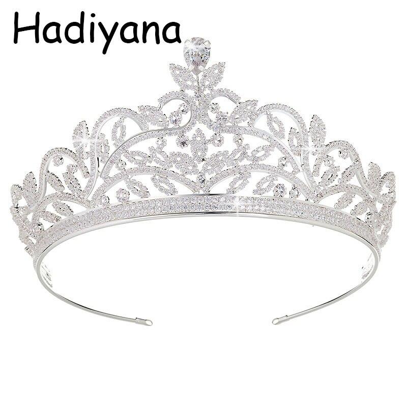 Hadiyana Populaire Baroque Reine Mariée couronne de diadème Pour Les Femmes Coiffe De Bal De Mariée De Mariage Diadèmes et Couronnes bijoux pour cheveux HG6018