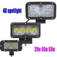 4D Led Driving Work Light Spotlight Work Lamp 20W 40W 60W 12V 24V Offroad Off road Headlamp Fog Pencil Worklight Cannon Exterior