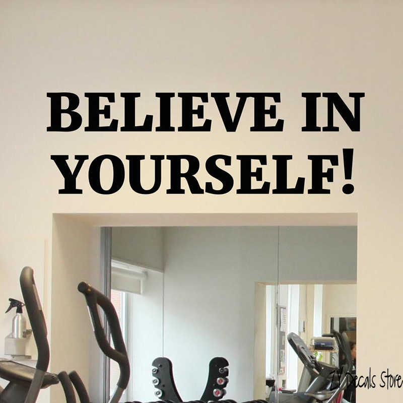 Motivational Gym Wall Decal Sport Fitness Quote Vinyl Sticker Decor Mural Believe In Yourself Quotes Wall Decor Art Mural L476 Aliexpress