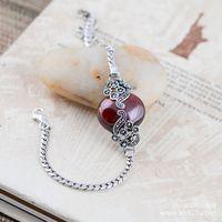 KJJEAXCMY 925 silver jewelry inlaid retro classical palace style red garnet female Bracelet