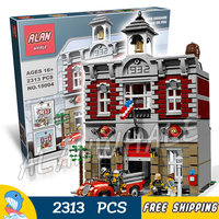 2313pcs 15004 Fire Brigade Hall DIY Model Building Blocks Authentic Vintage Fire Station Toys Compatible With
