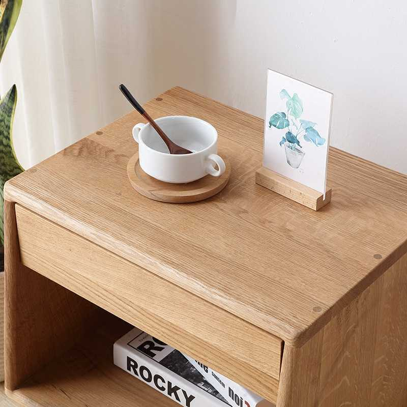 Louis Fashion Coffee Tables Wood Wax Paint-free Bedside Cabinet White Oak Log Storage Simple Bedroom Full  Mini Magazine