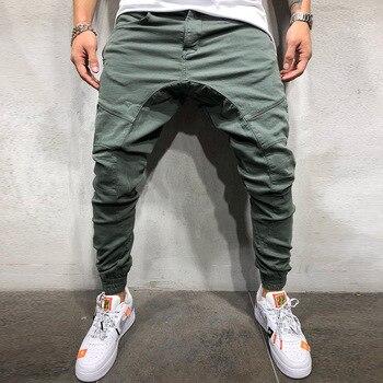 fashion solid black men joggers hip hop multi-pockets harem pants men fitness male trousers sweatpants plus size xxxl