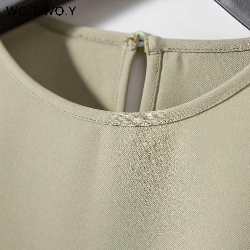 Женские футболки WOTWOY с зеленым поясом, весна-лето 2019, Повседневная футболка с круглым вырезом и поясом, женские желтые однотонные тканые Топы Harajuku