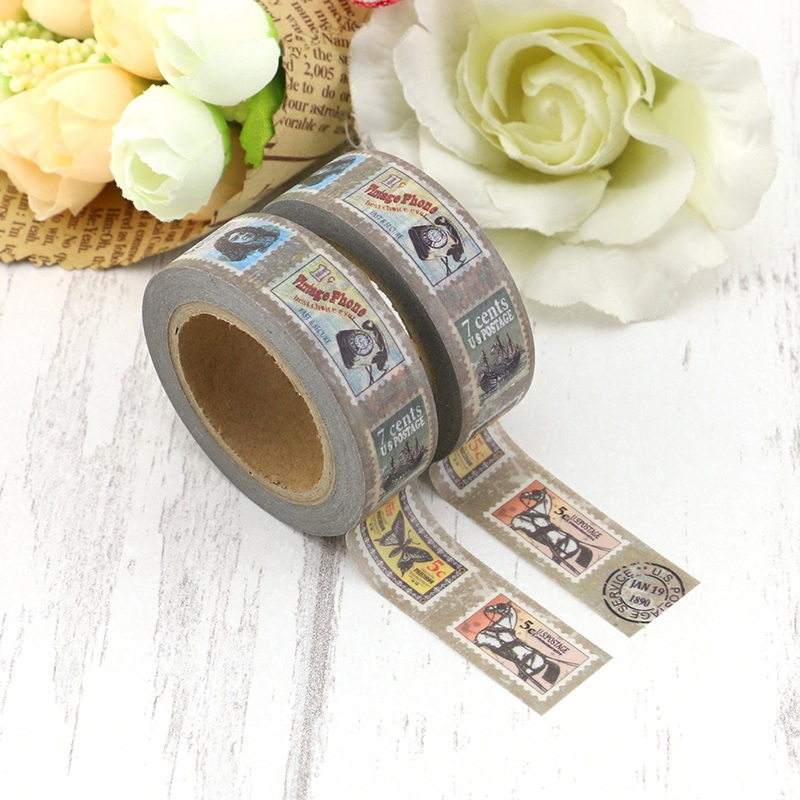 2PCS/lot Retro Stamp Butterfly Travel Decorative Washi Tape Paper For DIY Scrapbooking Adhesive Tapes 15mmx10m School Supply