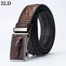 ZLD  Men Genuine Leather Crocodile pattern Belt Alligator Automatic Buckle designer luxury High Quality male Strap