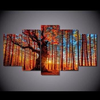 5 piezas de lienzo impreso pintura bosque cielo árboles otoño follaje paisaje decoración del hogar impresión póster arte de la pared