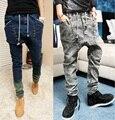 2016 HIPHOP masculino Baixa Queda virilha basculador PARA homens denim Calças Jeans hip hop dance calças largas calças harém pantalon Homme