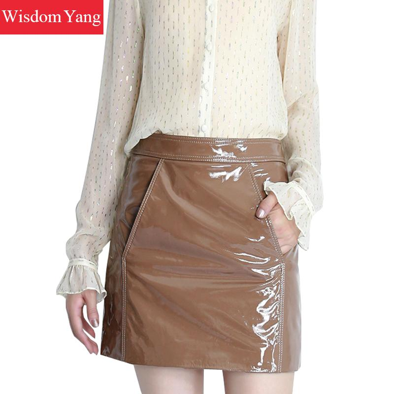 942e57af53 Black Blue Yellow Real Sheep Skin Genuine Patent Leather Skirt High Waisted  Mini Skirts Women 2018