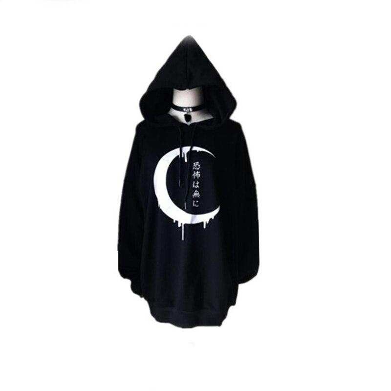 Noir Épais Gothique Femmes Hoodies Pleine Manches Japonais Lune Imprimé Pull Lâche Sweat À Capuche Sweat Une Taille