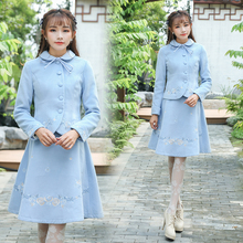 2017 Autumn Women Clothing set Vintage Retro Embroidery  Peter pan Collar Jacke Coat & A-line Skirt