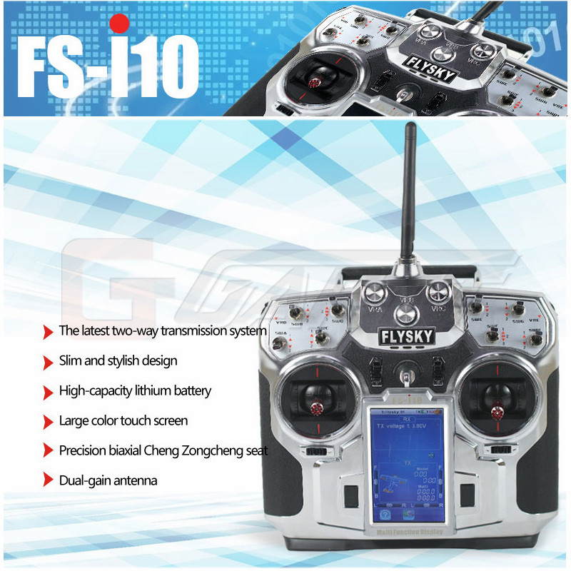 FlySky FS-i10 2.4G 10CH AFHDS 2A Automatic Frequency Hopping Transmitter+FS-iA10 Receiver for RC Multicopter Helicopter